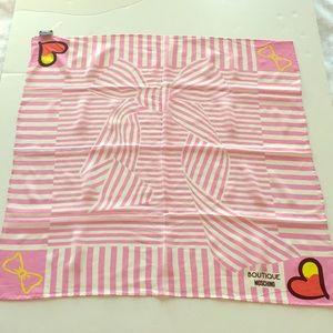 Moschino Silk Scarf Square Pink/White Stripes NWT